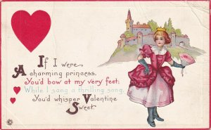 VALENTINE'S DAY, 1900-10s; Princess, Castle, Poem, Red Hearts