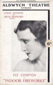 Indoor Fireworks Fay Compton Aldwych Comedy Theatre Programme