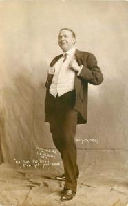 Billy Sunday Evangelical Preacher C-1910 Williams RPPC real photo postcard 10193