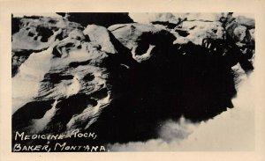 LP10 Baker Montana Postcard  RPPC  Medicine Rock