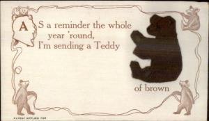 Embroidered Silk Teddy Bear Color Series c1910 Postcard BROWN