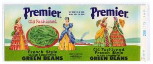 Premier French Style Green Beans Leggett Vintage Can Label