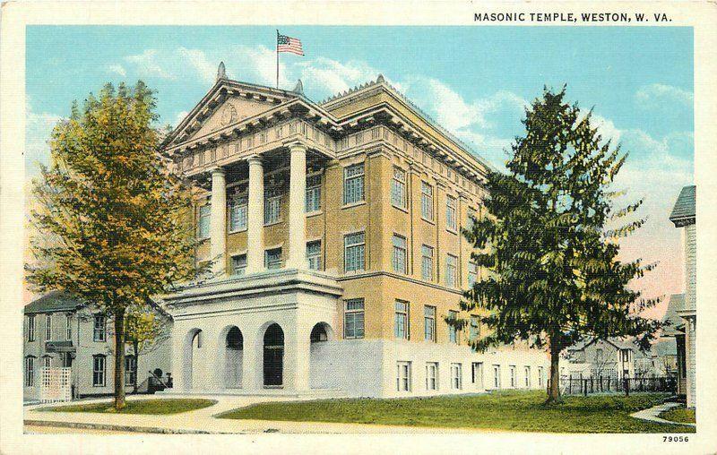 1930s Masonic Temple Weston West Virginia Flag Teich Postcard 3187