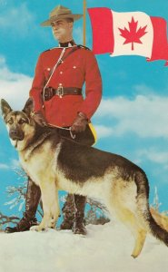 Royal Canadian Mounted Policeman with dog, 1940-60s