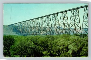 Lethbridge AB-Alberta Canada, Railroad Bridge, Chrome c1973 Postcard