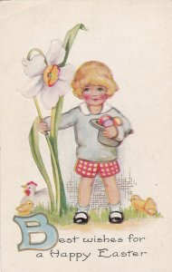 Best wishes for a Happy EASTER, 1900-10s; Child with hat full of eggs, chicks
