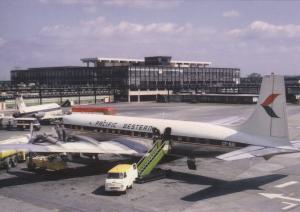 Pacific Western DC7 CF-NAI, at London Gatwick Airport