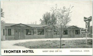 INDIANOLA, Iowa Postcard FRONTIER MOTEL Highway 92 Roadside c1950s Unused