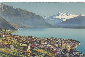 Montreaux, Vue generale et Dents du Midi, Vaud, Switzerland, 00-10s
