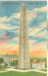 Bunker Hill Monument, Boston Mass, 1950s used linen Postcard