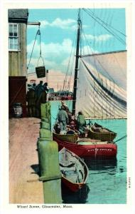 Massachusetts Gloucester  Fishing Bark at wharf