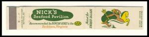 Nick's Seafood Pavilion Mini-Matchcover,Yorktown,Virginia/VA