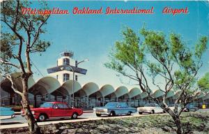 Oakland California International Airport~60s Cars Parked by Termianl~Postcard
