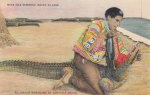 Alligator Wresting by Seminole Indian , 30-40s
