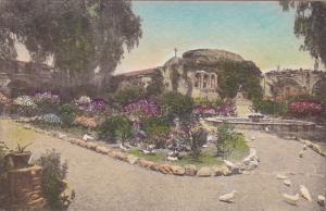 Front Garden Old Mission San Juan Capistrano California Handcolored Albertype