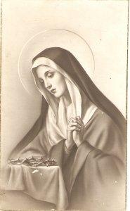 La Virgen Dolorosa Nice religious spanish postcard 1940s