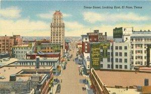 Autos Birdseye C-1940s El Paso Texas Postcard Sandoval Teich linen 6445