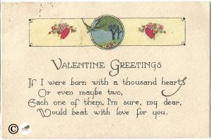 Martin Flying Red Hearts and Flowers Valentine's Day Greeting Vintage Postcard