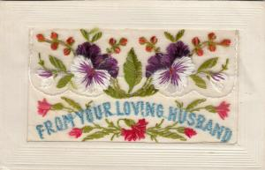 Hand Sewn, 1900-10s; From Your Loving Husband, flowers, Insert