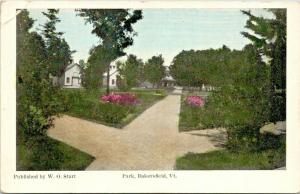 Bakersfield Vermont~Criss Cross Path in Park~Homes~Flower Bushes~WO Start~1915