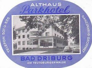 GERMANY BAD DRIBURG PARKHOTEL ALTHAUS VINTAGE LUGGAGE LABEL