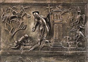 Hildesheim Cathedral, Detail of The Bronze Door Noli me Tangere