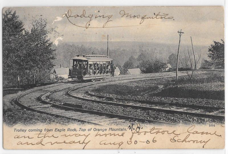 Trolley on rails coming from Eagle Rock Orange Mountain NJ BW Vintage Postcard