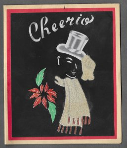 VINTAGE 1940s WWII ERA Christmas Greeting Card Art Deco CHEERIO Man In Top Hat