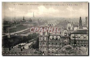 Old Postcard Paris Panoramic Seven Bridges On The Seine Eiffel Tower