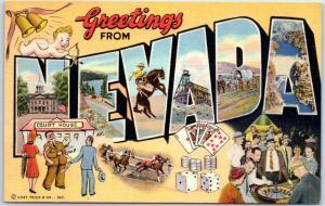 NEVADA Large Letter Postcard Multi-View Gambling Horse Racing Linen 1940s UNUSED