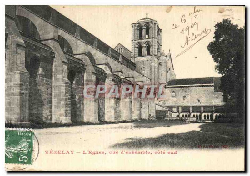 Old Postcard Vezelay L Overview of Church South coast
