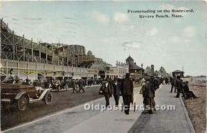 Revere Beach, Massachusetts, MA, USA Postcard Promenading on the Boulevard 1912