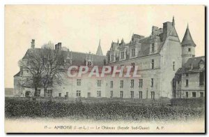 Old Postcard Amboise I and L Le Chateau frontage South West