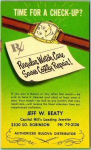 Vintage OKLAHOMA CITY OKC Advertising Postcard Jeff Beaty Jewelry Store Bulova
