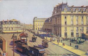 BORDEAUX, Gironde, France, 1900-1910's; Gare Du Midi, Cable Cars, Horse Carri...