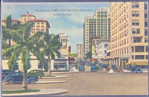 Miami FL -  Flagler Street looking west from Biscayne Boulevard, 1930s