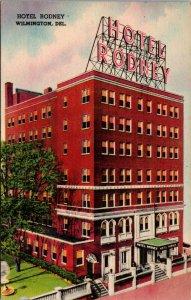 Hotel Rodney Wilmington Delaware Market Square 1940s Linen Postcard AK