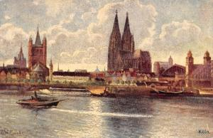 Cologne Koeln Total, General view River Boats Schiff, Dom Cathedral Postcard