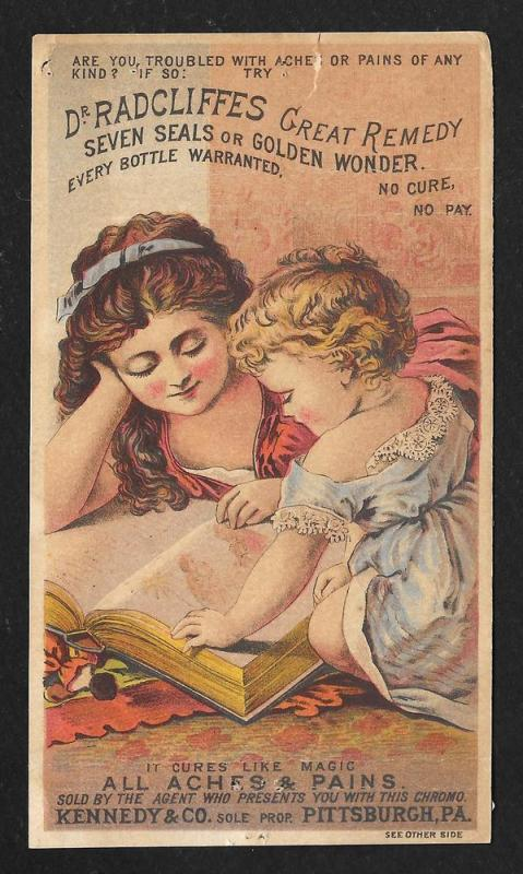VICTORIAN TRADE CARD Dr Radcliffes Remedy Girl Reading Baby