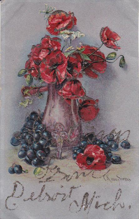 AS; Still Life, Red Poppies in vase, blueberries, glitter detail, Greetings f...