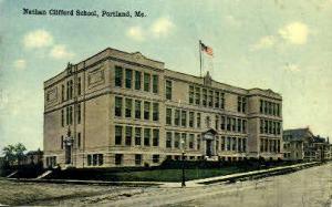 Nathan Clifford School Portland ME Postal Used Unknown