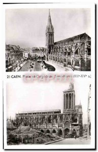 Old Postcard Caen Place and Cathedrale Saint Pierre Militaria