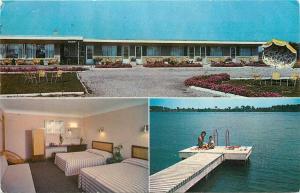 Chippawa Ontario~River Bell Motel~Room Interior~Boat Dock~1950s Postcard
