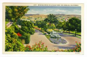 Pasadena, California to Milwaukee, Wisconsin 1938, used Postcard Elysian Park
