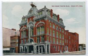 New Grand Theatre Theater Sioux City Iowa 1910c postcard