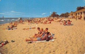 Grand Haven State Park, Lake Michigan Beach Scene 1957 Vintage Postcard
