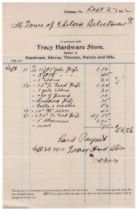 1912 Billhead, TRACY HARDWARE STORE, Chelsea, Vermont