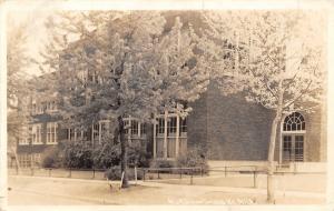 Grandville MI~Flocked Trees~Light Snow on Ground~Old House of Learning RPPC 1918