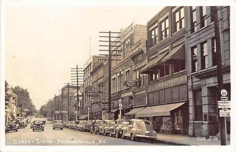 Madisonville KY Street Store Fronts Old Cars 1949 Real Photo RPPC Postcard