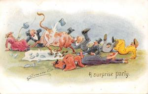 A surprise party, signed, comic humour corrida, ox cattle